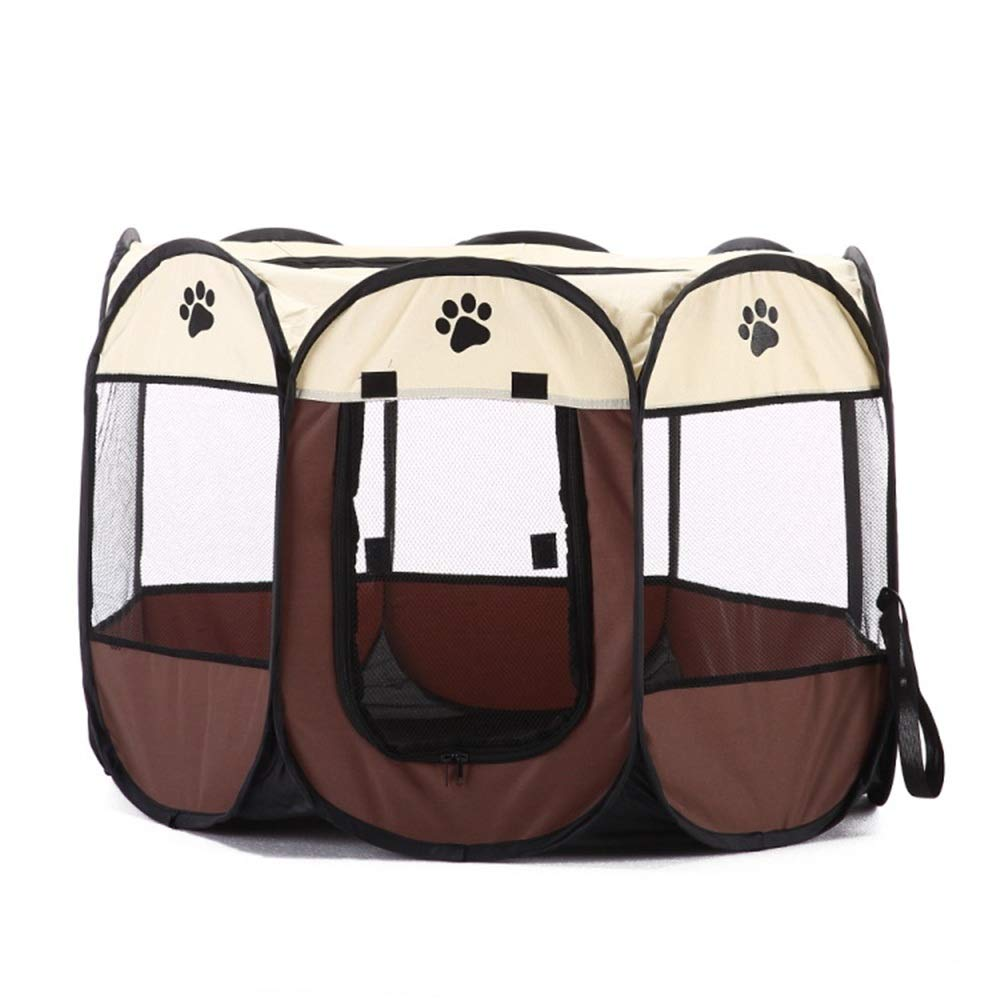 Brown Washable Puppy pet Bed Collapsible Octagon Pet Tent Pet Fence Oxford Cloth Outdoor Pet Cat Dog Cage Private Space (color   Brown)