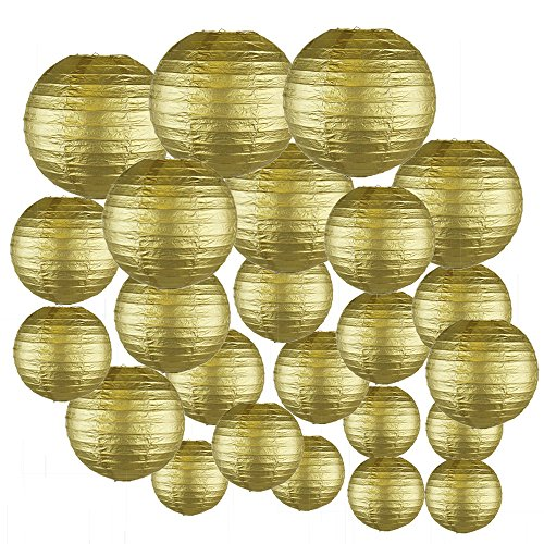 Just-Artifacts-Decorative-Round-Chinese-Paper-Lanterns-24pcs-Assorted-Sizes-Color-Gold