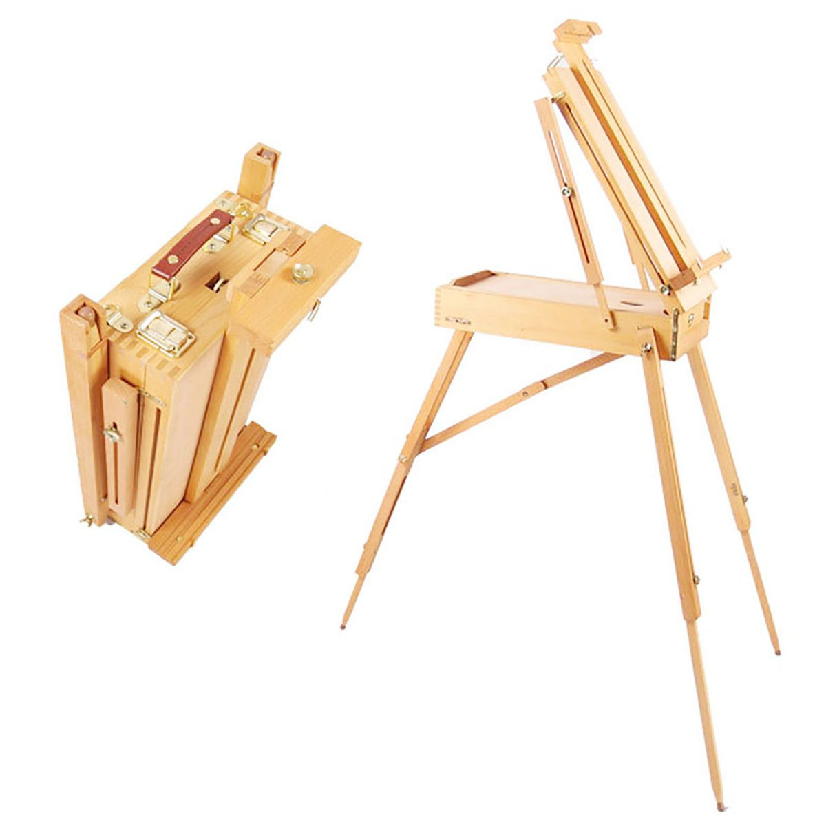 Hestio Wooden Tripod Art Easel Portable Sketch Drawing Box Artist Painting Foldable