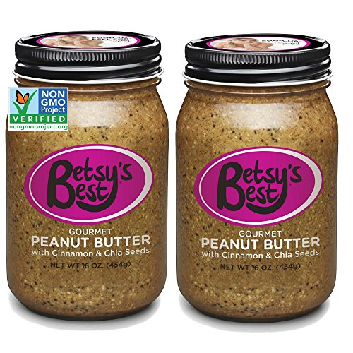 Gourmet Peanut Butter by Betsy's Best 32 OZ - FREE RECIPE BOOK (Cinnamon Chia, 2 Jars)