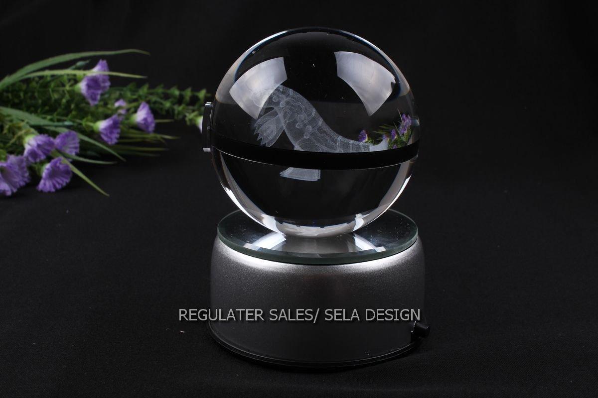 Sela Design. Multiple Designs Pokemon Go inspired Laser K9 crystal Engraved-LED rotating base. Base changes color toy nightlight lamp (Groudon) by sela design (Image #1)