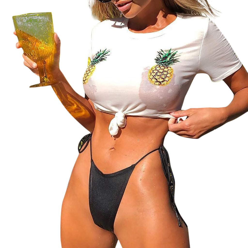 CHIDY Women's Pineapple Bikini Tops Padded Push Up Bra Swimwear Beach Bathing Suit Beachwear Two Piece Swimsuits White by CHIDY (Image #2)