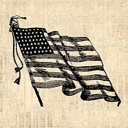 da84ef832110 Vintage American Flag Print for Wall Art   Home Decoration Antique United  States Americana USA America