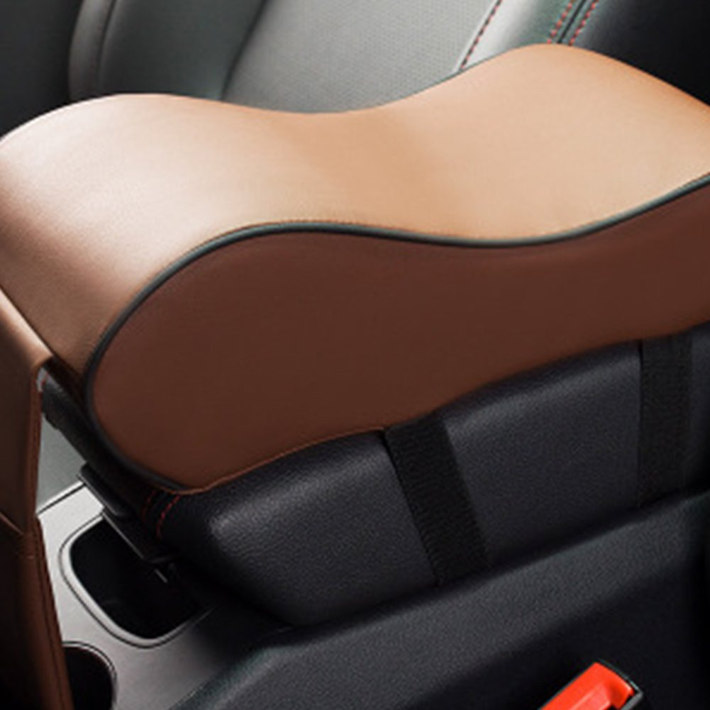 Car Armrest Pad, PU Leather Car Handrail Box Pad Car Armrests Covers Car Center Console Memory Cotton Arm Rest Seat Box Pads Protective(Brown)