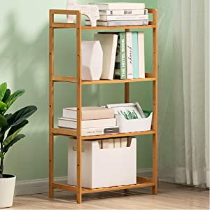 TOPYL Bamboo 3-6 Tier Bookshelf,Thicken Narrow Library Display Stand Storage Cabinet Easy Assembly Storage Rack for Records & Books E 100x50x25cm(39x20x10inch)