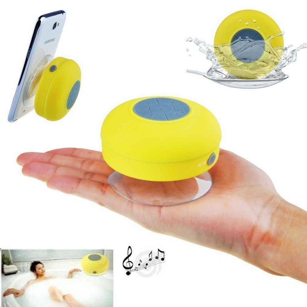 Shipmate Mini Portable Waterproof Bluetooth Wireless Shower Speaker with Powerful Suction Cup for All Devices With Built-in Control Buttons, Kid-friendly - Best for Bath, Pool, Car, Beach, Indoor/Outdoor Use (Yellow)
