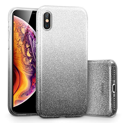 (esr Makeup Glitter Case for iPhone Xs/iPhone X, Glitter Sparkle Bling Cover [Three Layer] for iPhone 5.8 inch (Ombre Black))