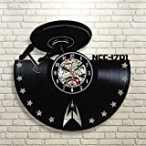 Star Trek Decor Gift Vinyl Record Wall Clock Fan Black Room Idea