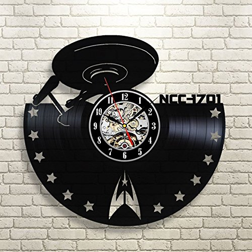 Star Trek Decor Gift Vinyl Record Wall Clock Fan Black Room (Star Trek Communicator Keychain)