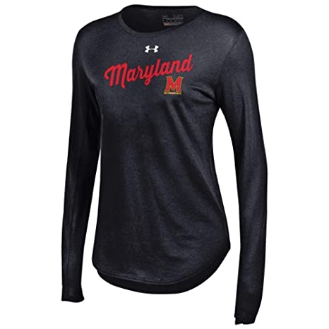 0315ef19 Under Armour Women's Long Sleeve University of Maryland Terps Baseball Tee  (X-Large)