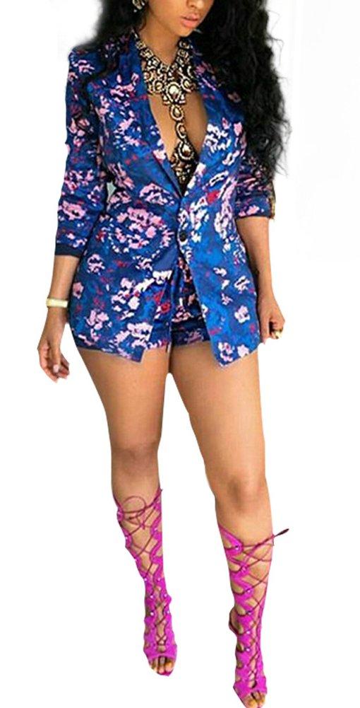 Blansdi Women Fashion Lapel Floral Print Tops Blazers Jacket Shorts 2 Piece Suit Sets Outfits