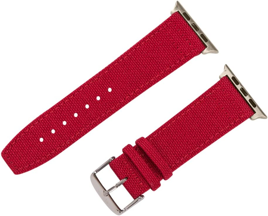 Clockwork Synergy - Cordura Collection Leather Watch Bands Compatible with Apple Watch (42mm Barn Red, SS)