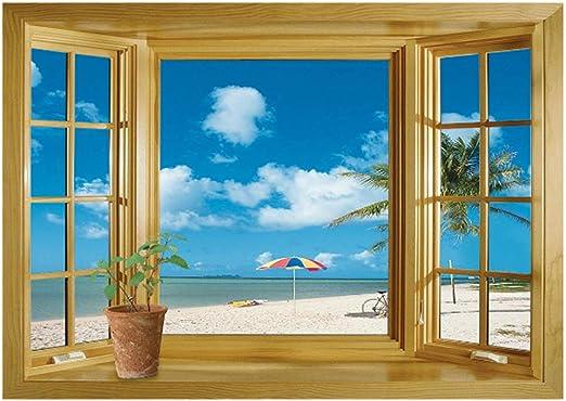 3D Fake Window Ocean Beach Flower Sea Wall Stickers Decal Mural Home Latest