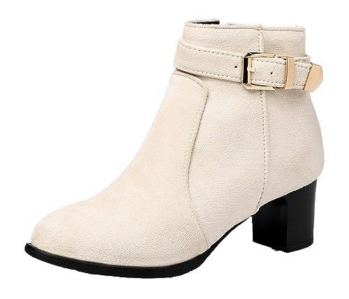 AgeeMi AgeeMi AgeeMi scarpe Donna Puro Suede Tacco Medio Punta Tonda Cerniera   85c164