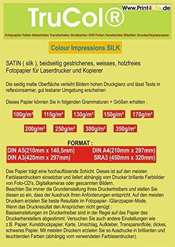 BEIDSEITIG seidenmatt 50 Blatt DIN A5 Silk Coated 300g /m² Fotopapier Satin für Farb- LASERDRUCKER und KOPIERER.