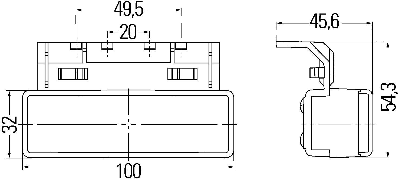 24 V Anbau links//rechts LED HELLA 2PS 008 643-031 Seitenmarkierungsleuchte
