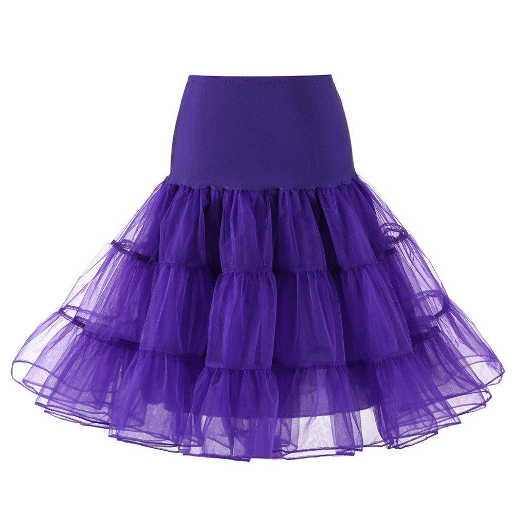 【MOHOLL】 Women's Vintage Rockabilly Petticoat Skirt Tutu 1950s Underskirt Purple by ✪ MOHOLL Pants ➤Clearance Sales