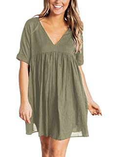 31bf0eaca89 YIBOCK Women's Short Sleeve V Neck Pleated Loose Babydoll Solid Color Tunic  Mini Dress
