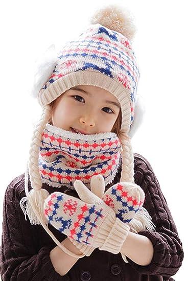 YiyiLai Mignon Bonnet+Echarpe+Gants Ensemble de Chaud de Noël Pour Enfant   Amazon.fr  Vêtements et accessoires 688b4677d72