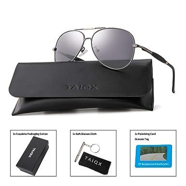 a4ae8908c TAIQX Military Aviator Sunglasses Polarized Lens Metal Frame UV400 Classical