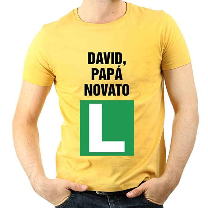 Camiseta Personalizada Padre Novato - Regalo Para Padres primerizos (Amarillo): Amazon.es: Ropa y accesorios