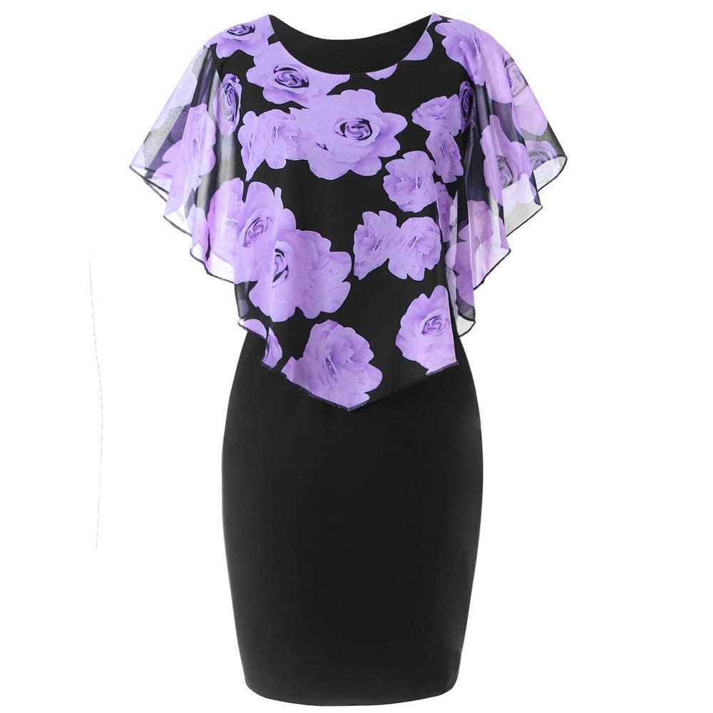 Fashion Elegant Women Dress Casual Plus Size 5XL Rose Print Chiffon O-Neck Ruffles Mini Party Dresses (L, Purple)