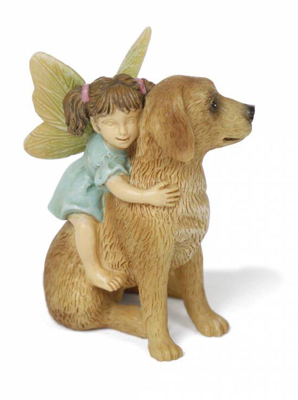 "Miniature Fairy Garden ""Ready for a Ride"" Fairy Girl with Dog"
