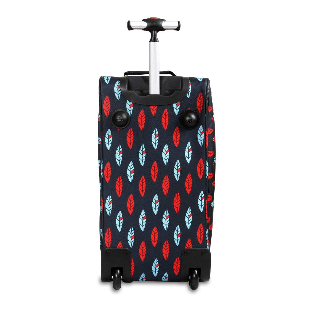 Red Blue CarryOn Rolling Duffle Bag Lined Graphic Pattern Polyester