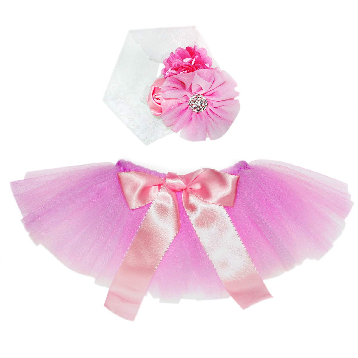 Newborn Girl Photography Outfits - Infant Photography Props/Baby Girl Photo Props - Pink Newborn Tutu Skirt and Headband Set