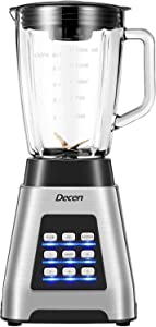 Countertop Blender Smoothie Blender Ice Crusher with 1.5L Glass Jar, 1000W Food Processor Professional Kitchen Blender for Shakes Smoothies Frozen Drinks, Decen
