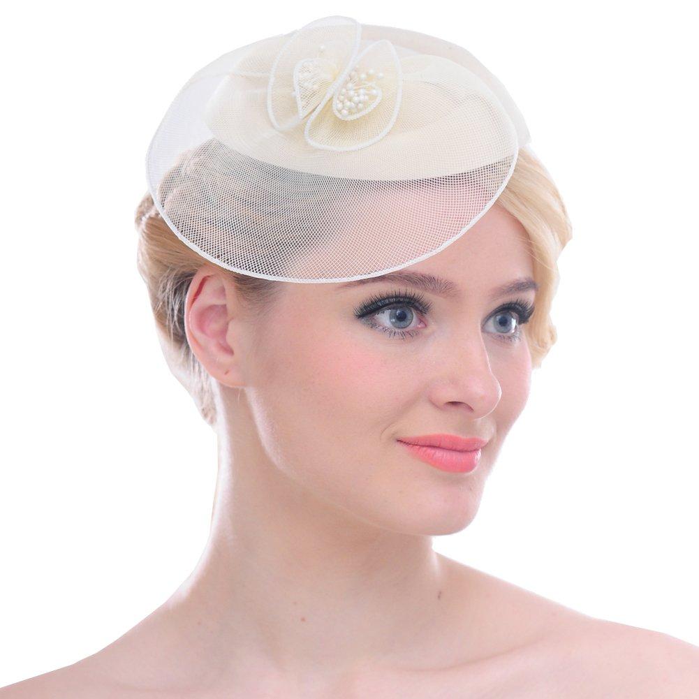 FAYBOX Vintage Mesh Wool Felt Pillbox Flower Women Fascinator Hat Hair Clip BEG