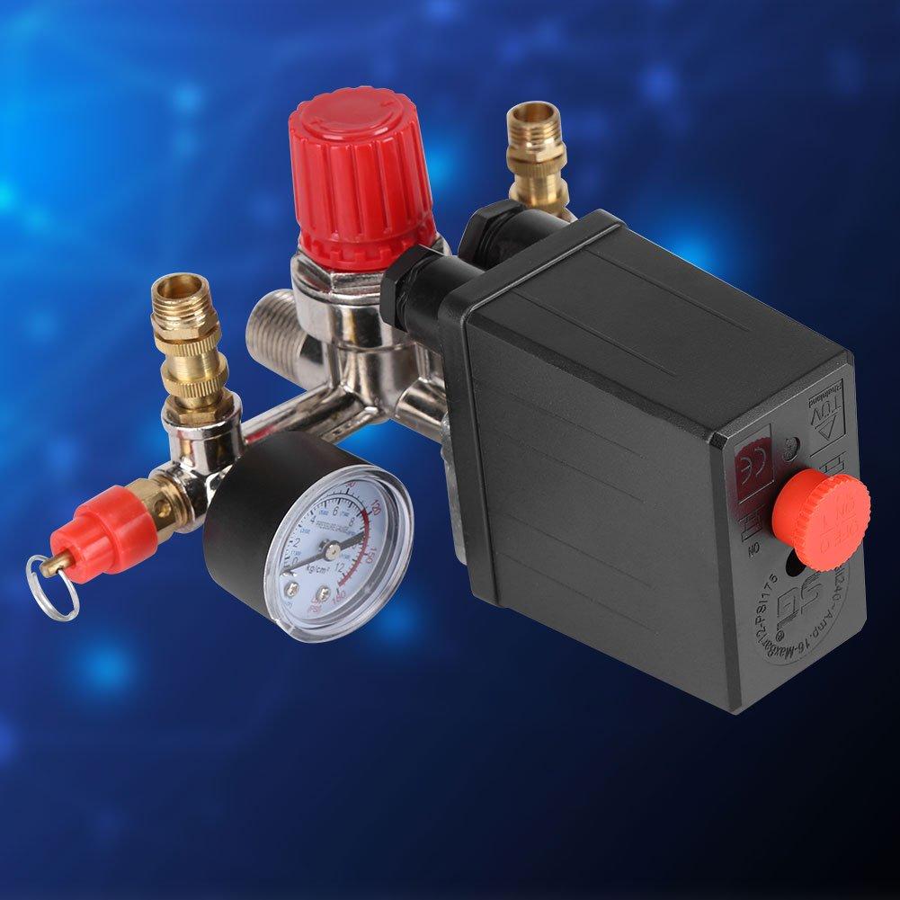 Asixx Interruptor de Compresor de Aire, Válvula de Regulador de Presión, de Plástico Y Metal, para Ajustar La Presión: Amazon.es: Hogar