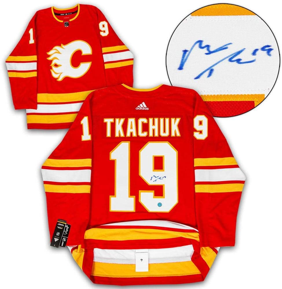 Matthew Tkachuk Calgary Flames Signed Retro Alt Adidas Authentic Hockey Jersey Autographed Nhl Jerseys At Amazon S Sports Collectibles Store