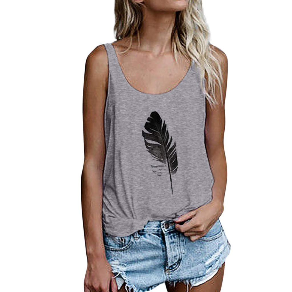 Women Leaf Print Vest Sleeveless Loose Crop Tops Tank Tops Blouse Tops Casual Daily T-Shirt Gray by FRana Women Vest (Image #1)