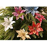 Onene-30-Pieces-Christmas-Glitter-Poinsettia-Flowers-Artificial-Christmas-Flowers-Christmas-Tree-Poinsettia-Ornaments-for-Christmas-Valentines-Day-New-Year-Floral-Decorations-51inch-6-Colors