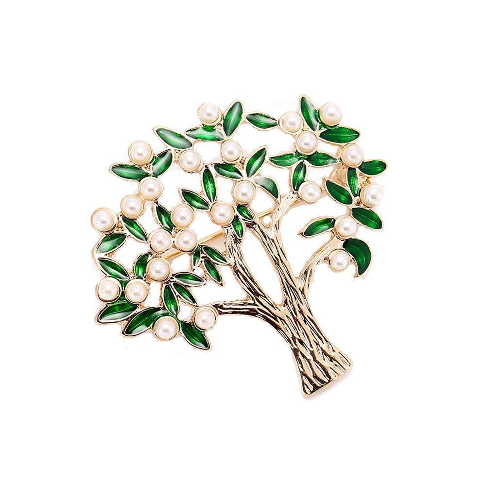 AOCHEE Enamel Coconut Palm Brooch Pin Green Leaves pearl Tree Brooch Lapel Stick Pin For Hat,Bag,Suit (#2)