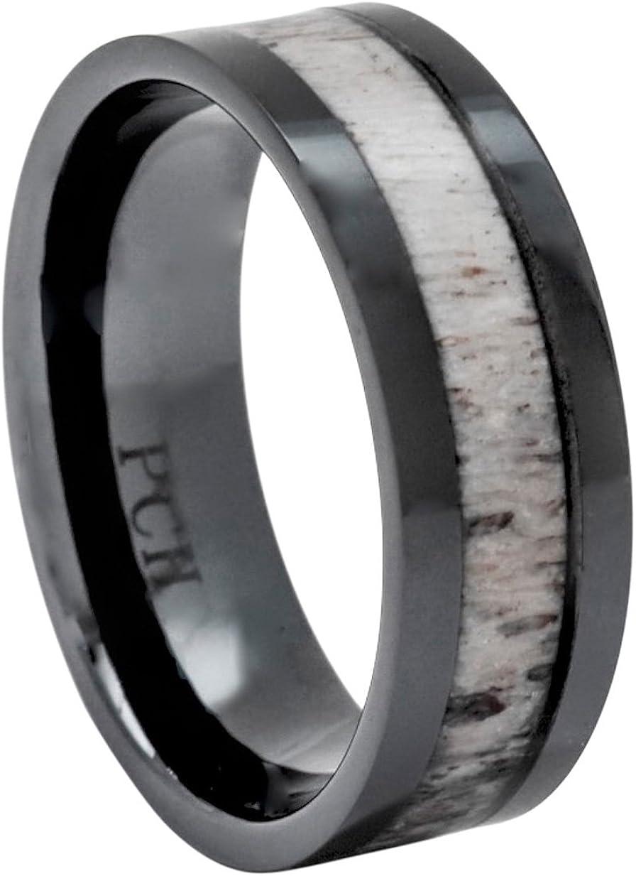 PCH Jewelers Deer Antler Ring Black Ceramic 8mm Gift or Wedding Band