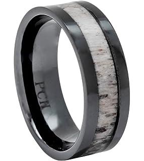 Black Tungsten Deer Antler Ring Mens Band Womens Wedding Ring
