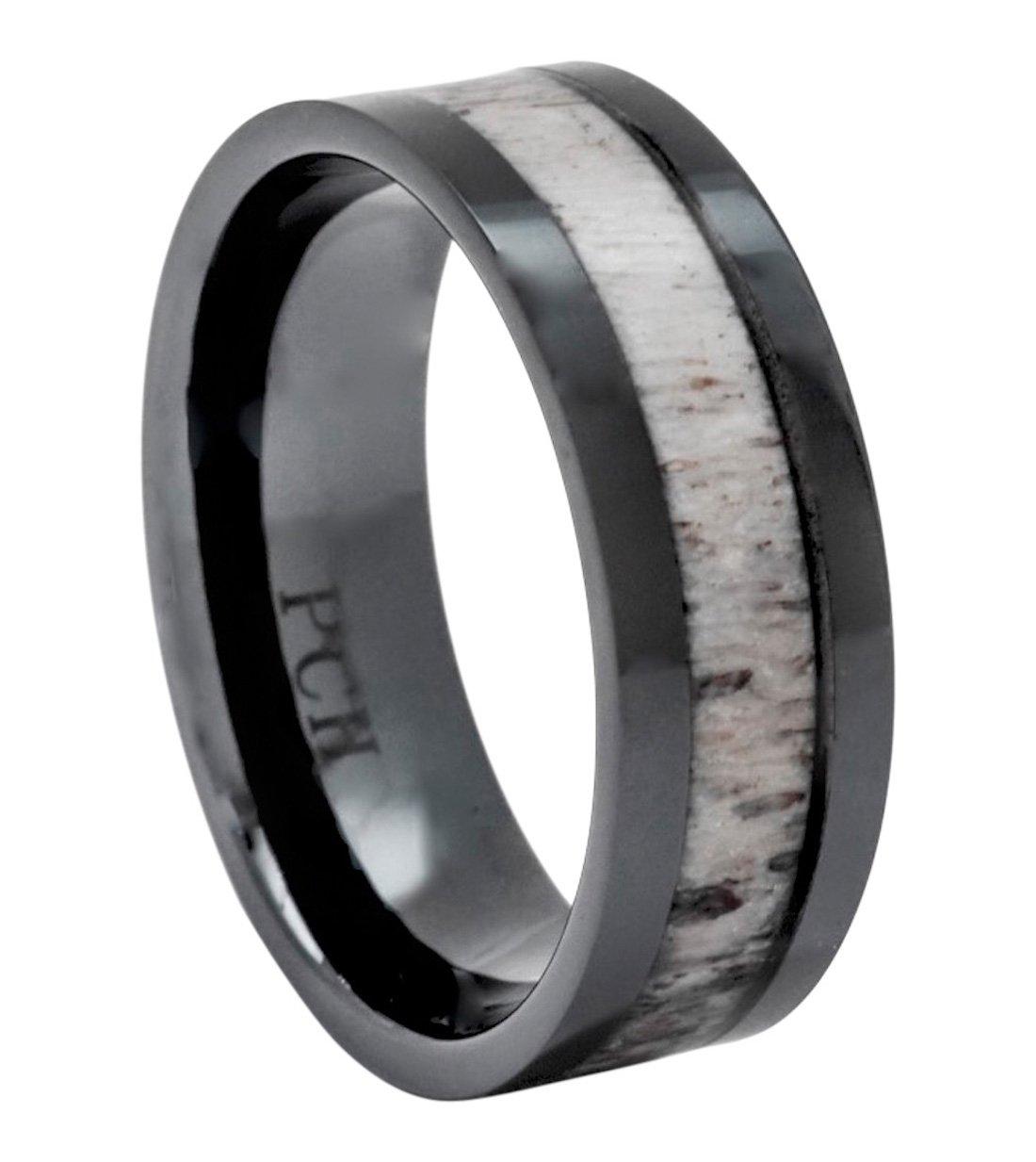 PCH Jewelers Deer Antler Ring in Black Ceramic 8mm Comfort Fit Wedding Band (10.5)