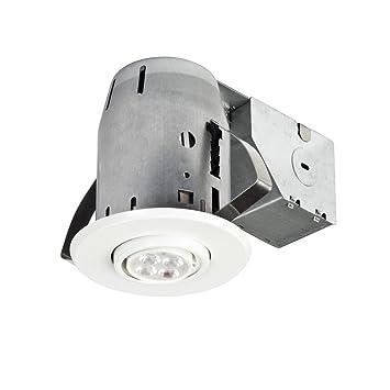 3u0026quot; LED IC Rated Dimmable Downlight Swivel Spotlight Recessed Lighting Kit White Finish  sc 1 st  Amazon.com & Amazon.com: 3