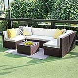 Wisteria Lane 7 PCS Patio Furniture Conversation Set,Outdoor Sectional Sofa Set All Weather Brown Wicker Furniture Set