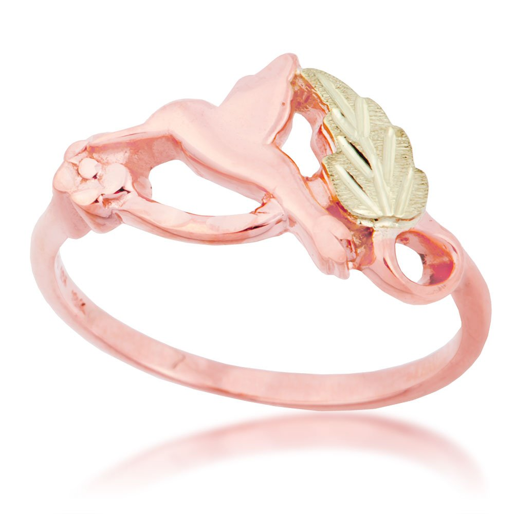 Amazon.com: Petite Humming Bird Ring, 10k Rose Gold, 12k Green and ...