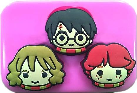 Fairie Blessings - Molde de silicona inspirado en las caras de Harry Potter de Harry Hermione & Ron para decoración de tartas, cupcakes, glaseado, ...