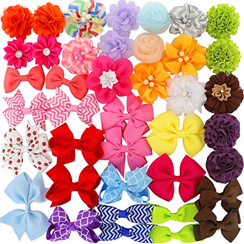 Grosgrain Ribbon Hair Bows Boutique Flowers Clips For Girls Teens Kids Toddlers Set Of 40 by Myamy
