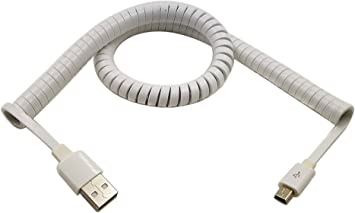 White 3m USB 3.1 C Type Male To 2.0 A Male Spiral Coiled Data Sync Adapter Cable