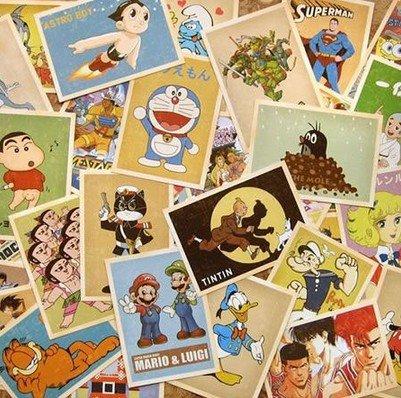 SuPoo 30pcs Famous Cartoon Animation Post Card Retro Nostalgia Postcards Post Cards for (Old Halloween Cartoons)