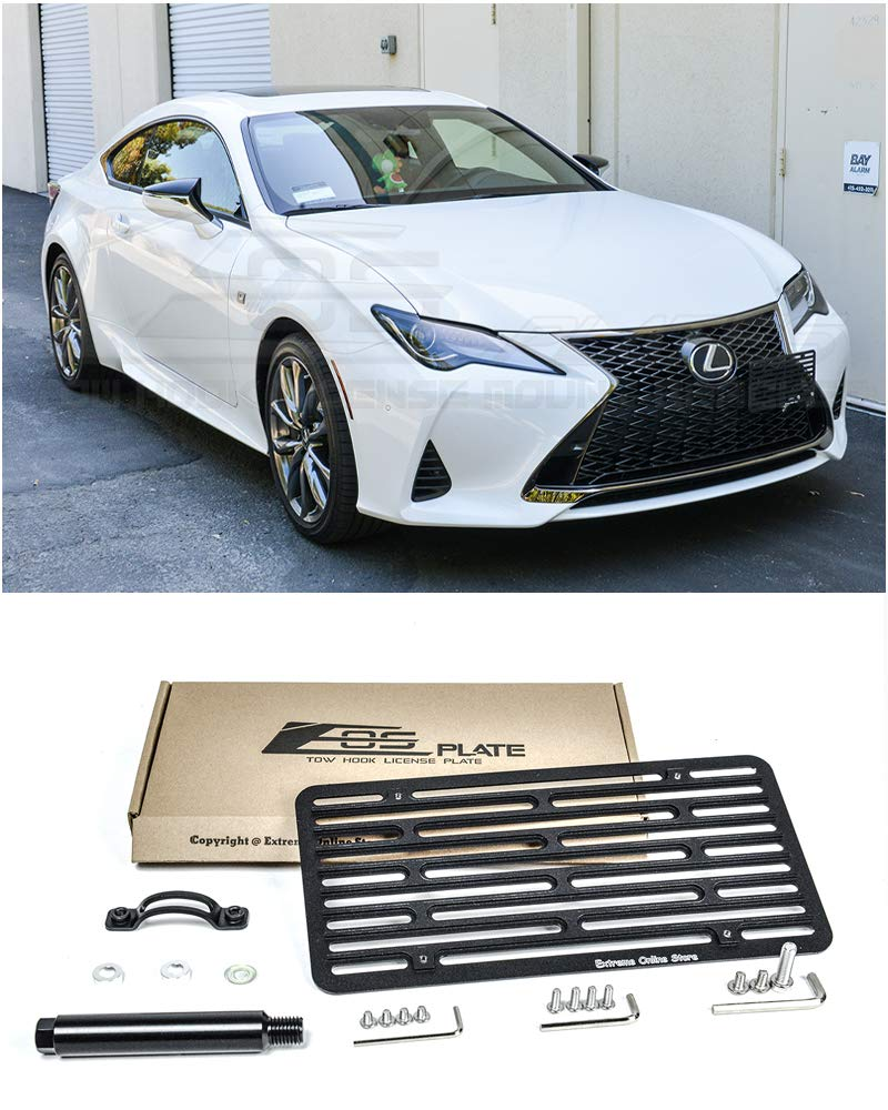 Extreme Online Store Replacement for 2019-Present Lexus RC300 & RC350 | EOS Plate Version 2 Full Sized Front Bumper Tow Hook License Relocator Mount Bracket
