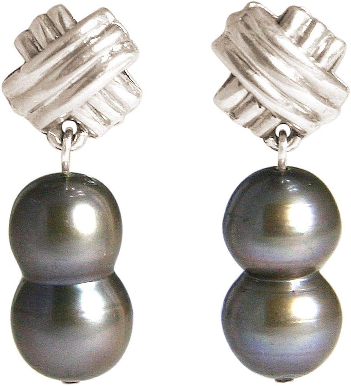 Gemshine Pendientes Plata de Ley en Plata de Ley o chapada en oro de 18k. Perlas cultivadas barrocas Gris Tahiti. Joya hecha en Alemania