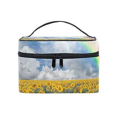ALIREA Sunflowers And Rainbow Cosmetic Bag Travel Makeup Train Cases Storage Organizer