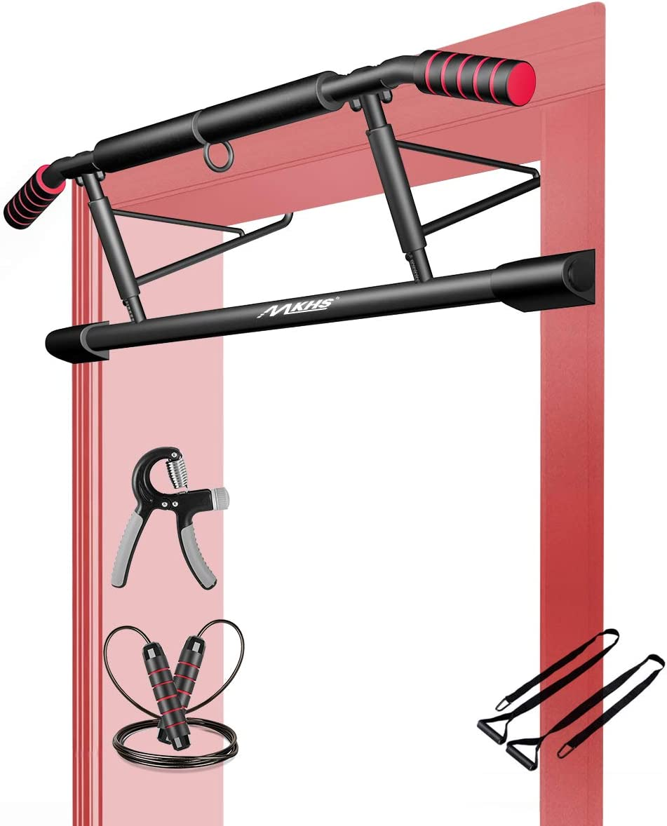 MKHS pull up bar for doorway 5-in-1 kit with Ergonomic Angled Grip, jump rope, hand grip, 2 suspension straps - Home Gym Exercise Equipment & chin-up bar no screw installation, fit to almost all doors